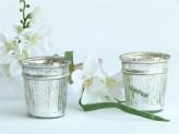 Windlicht Glas- Silber
